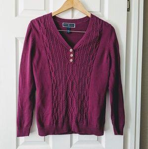 Karen Scott V-Neck Cable Front Sweater
